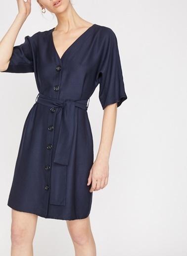 Koton Koton Düğme Detaylı Lacivert Elbise Lacivert